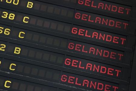analogous: destination board German at airport