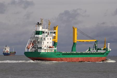 foreign trade: oceangoing cargo ship at sea Stock Photo