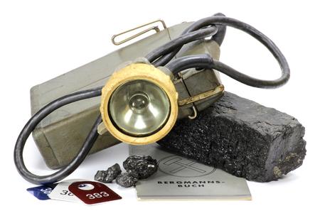 pitman: coal mining lamp isolated on white background Stock Photo