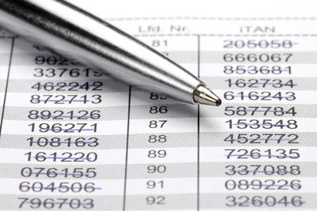 legitimacy: iTAN list for online banking Stock Photo