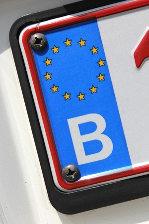 numberplate: country identifier of EU car registration plate: Belgium