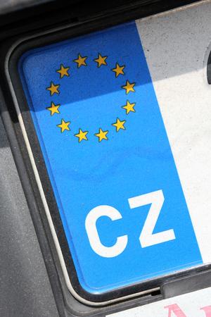 numberplate: country identifier of EU car registration plate: Czech Republic