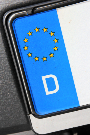 d mark: country identifier of EU car registration plate: Germany