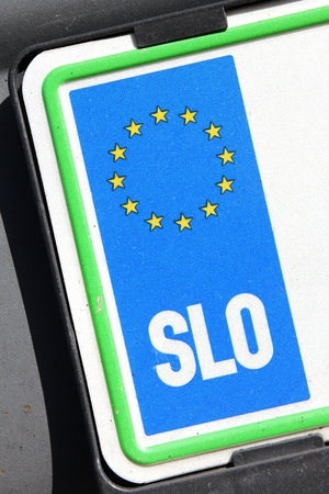 numberplate: country identifier of EU car registration plate: Slovenia