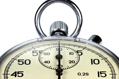 ultimatum: analogue stopwatch against white background