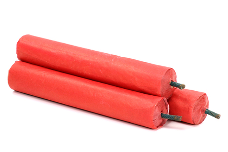 Chinese firecrackers isolated on white background