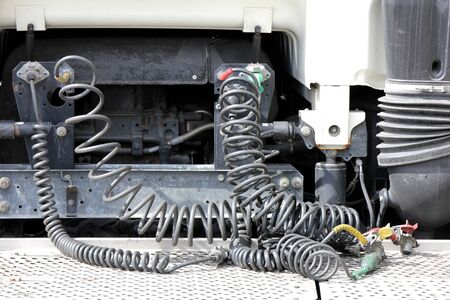 semitrailer: connection cables of a semi-trailer truck Stock Photo