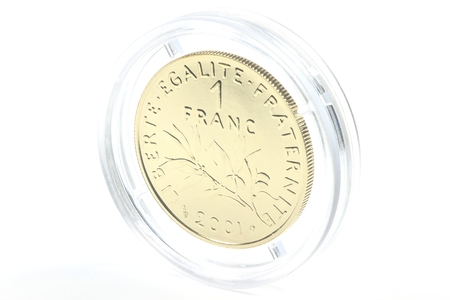 encapsulated: special gold issue of the French 1 franc coin