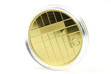 special gold issue of the Dutch Guilder 1 coin Stock Photo