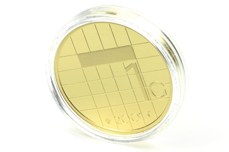 encapsulated: special gold issue of the Dutch Guilder 1 coin Stock Photo
