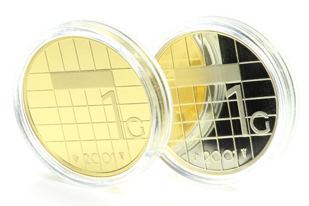 special gold and silver issues of the Dutch Guilder 1 coin