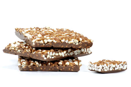 puffed: puffed rice chocolate isolated on white background Stock Photo