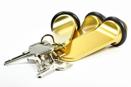 keychains: hotel keys isolated on white background