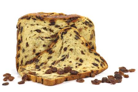 raisin bread isolated on white background