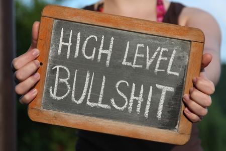 bullshit: HIGH LEVEL BULLSHIT written with chalk on slate shown by young female