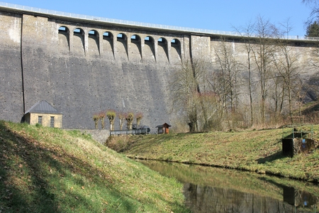 catchment: dam of the Aggertalsperre - storage reservoir near Gummersbach  Germany