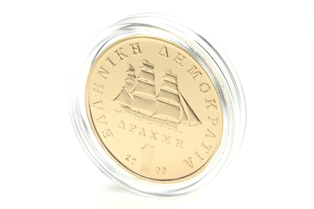 encapsulated: special gold issue of the Greek 1 Drachma coin