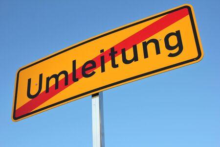 German road sign: end of diversion