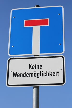 u turn sign: German road sign: no through road - u-turns impossible