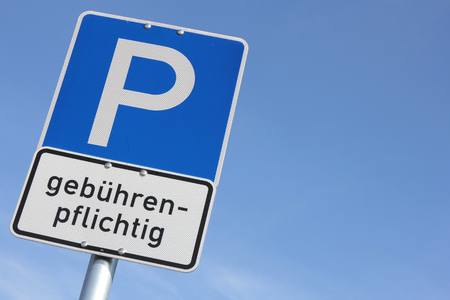 toll: German road sign: toll ticket parking Stock Photo