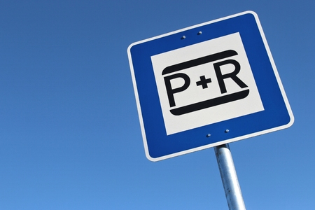 parking facilities: German road sign: park and ride Stock Photo