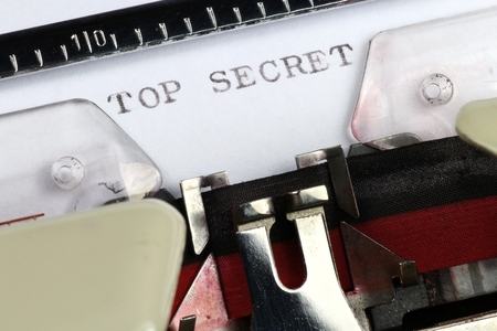 top secret: TOP SECRET written with old typewriter
