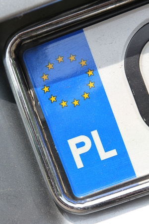 numberplate: country identifier of EU car registration plate - Poland Stock Photo