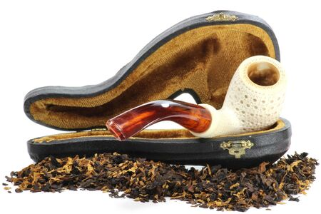 meerschaum pipe with tobacco isolated on white background