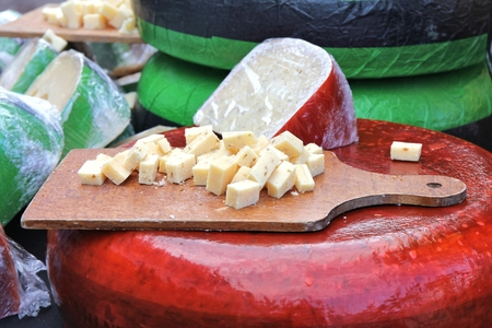 foretaste: cheese for taste at traditional Dutch cheese monger Stock Photo