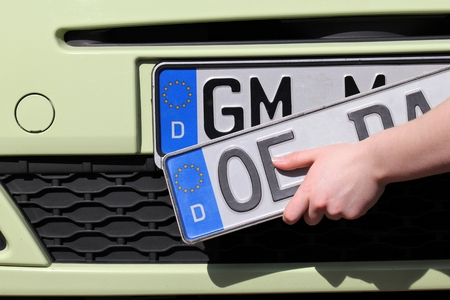 numberplate: re-registration of a car in Germany Stock Photo