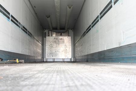 trucker: cargo area of ??a refrigerated semitrailer Stock Photo