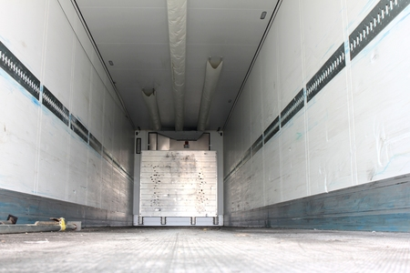 refrigerated: cargo area of ??a refrigerated semitrailer Stock Photo
