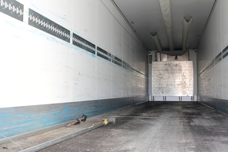 semitrailer: cargo area of ??a refrigerated semitrailer Stock Photo