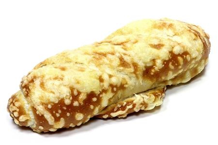 pretzel stick: pretzel breadstick with cheese isolated on white background Stock Photo