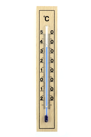 weather gauge: wooden thermometer isolated on white background showing 36-37 degrees Celsius