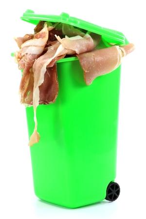 throwaway: ham in dustbin - symbolizing the throwaway culture