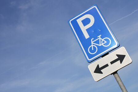 exclusively: Dutch road sign: parking facilities for bicycles only