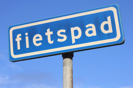 cycleway: Dutch road sign: optional cycle path Stock Photo