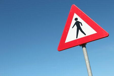 pedestrians: Dutch road sign: pedestrians Stock Photo