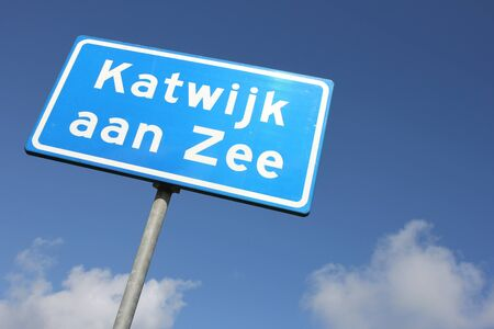 sky is the limit: Dutch road sign: built-up area Stock Photo