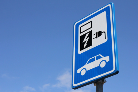 Dutch road sign: parking for electric vehicles only 스톡 콘텐츠
