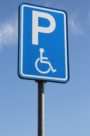 exclusively: Dutch road sign: parking for disabled drivers Stock Photo
