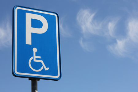 traffic rules: Dutch road sign: parking for disabled drivers Stock Photo