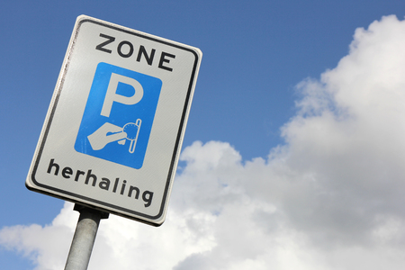 toll: Dutch road sign: repetition of toll ticket parking zone Stock Photo