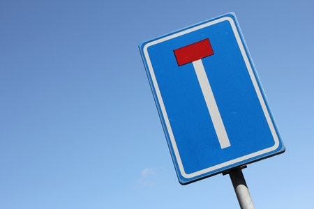 impasse: Dutch road sign: no through road for vehicles Stock Photo