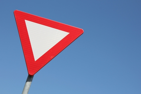 traffic regulation: Dutch road sign: give priority to traffic on the main road ahead