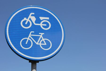 mopeds: Dutch road sign: route for pedal cycles and mopeds only