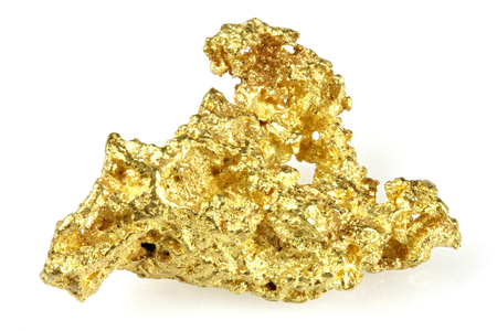 goldmine: gold nugget found in Queensland  Australia isolated on white background Stock Photo