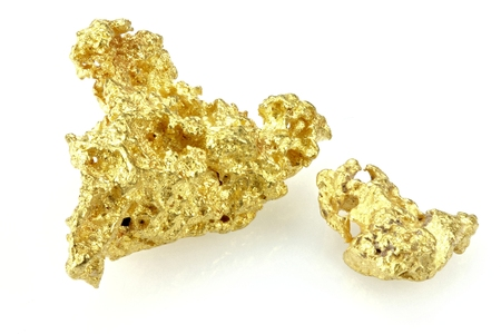 gold nuggets found in Queensland  Australia isolated on white background