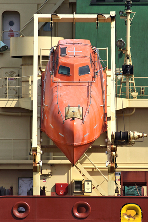 freefall: freefall lifeboat of an oceangoing tanker Stock Photo